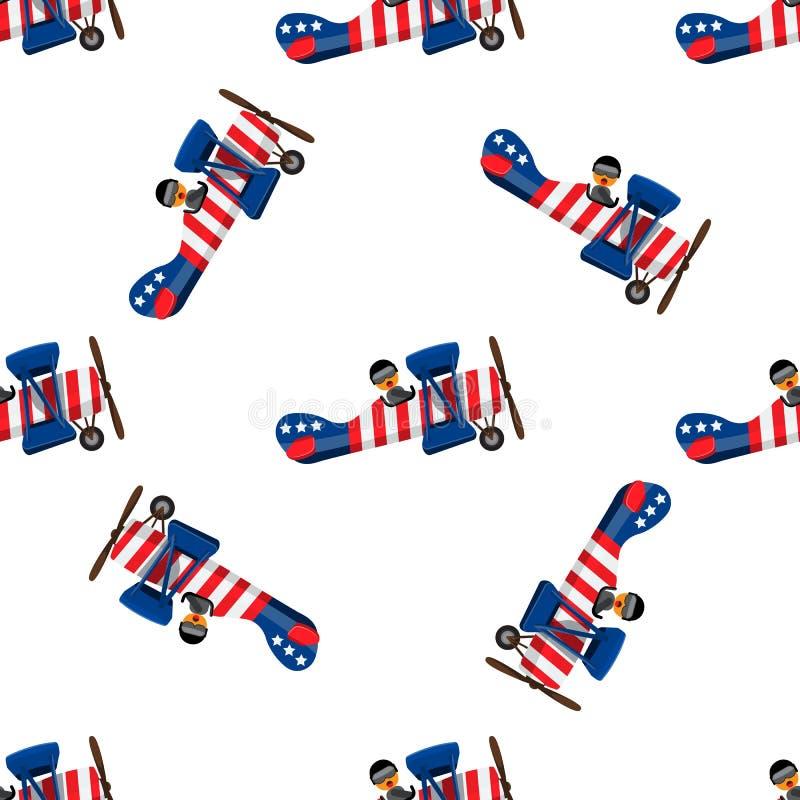 卡通平面无缝 美国七月四日独立日 平面和实色矢量图插图 皇族释放例证