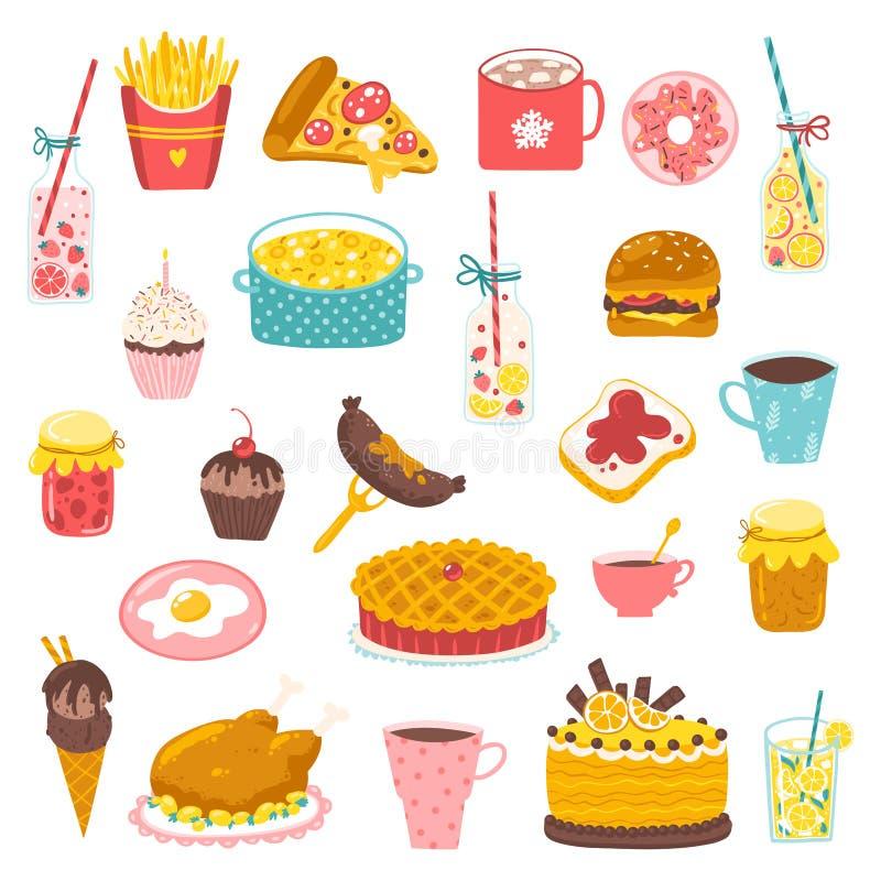 卡通风格食物 Vector stock hand-drawn illustration Colorful variety of food and drinks Icons for menus 皇族释放例证