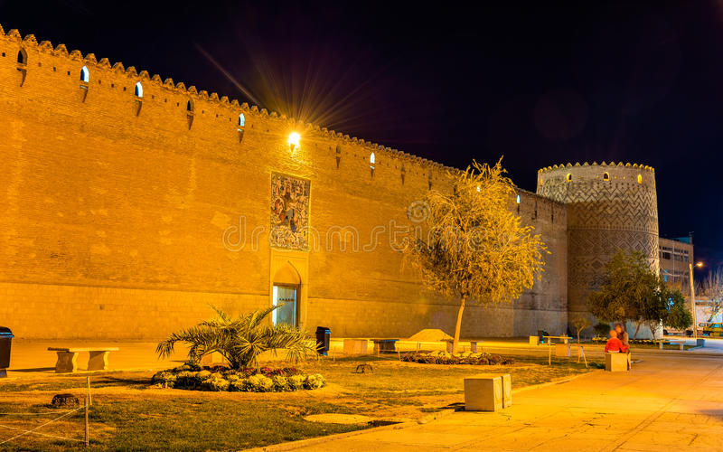卡里姆汗城堡在晚上在设拉子,伊朗 库存图片