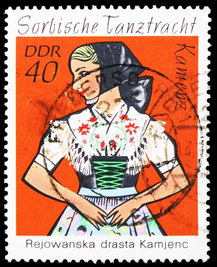 卡门茨,Sorbian舞蹈服装serie,大约1971年 免版税库存图片