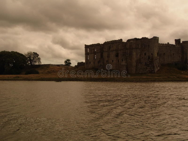 卡鲁城堡威尔士 库存照片
