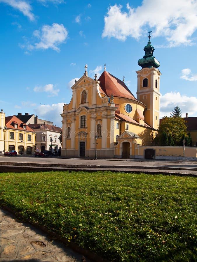 卡默利特平纹薄呢教会城市gyor匈牙利 库存照片