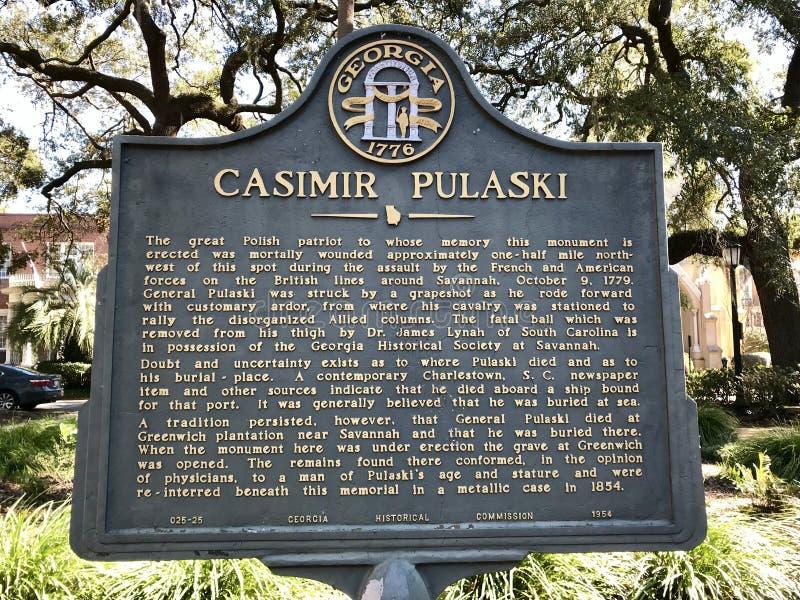 卡齐米日・普瓦斯基纪念碑在大草原的,乔治亚-美国一个公园 库存照片