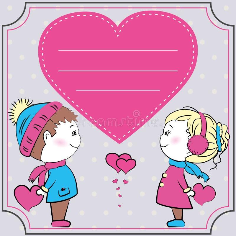 贺卡,拿着心脏的爱恋的夫妇 库存例证
