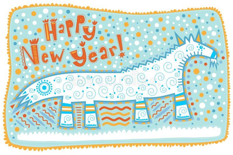 贺卡,装饰山羊,新年快乐! 皇族释放例证