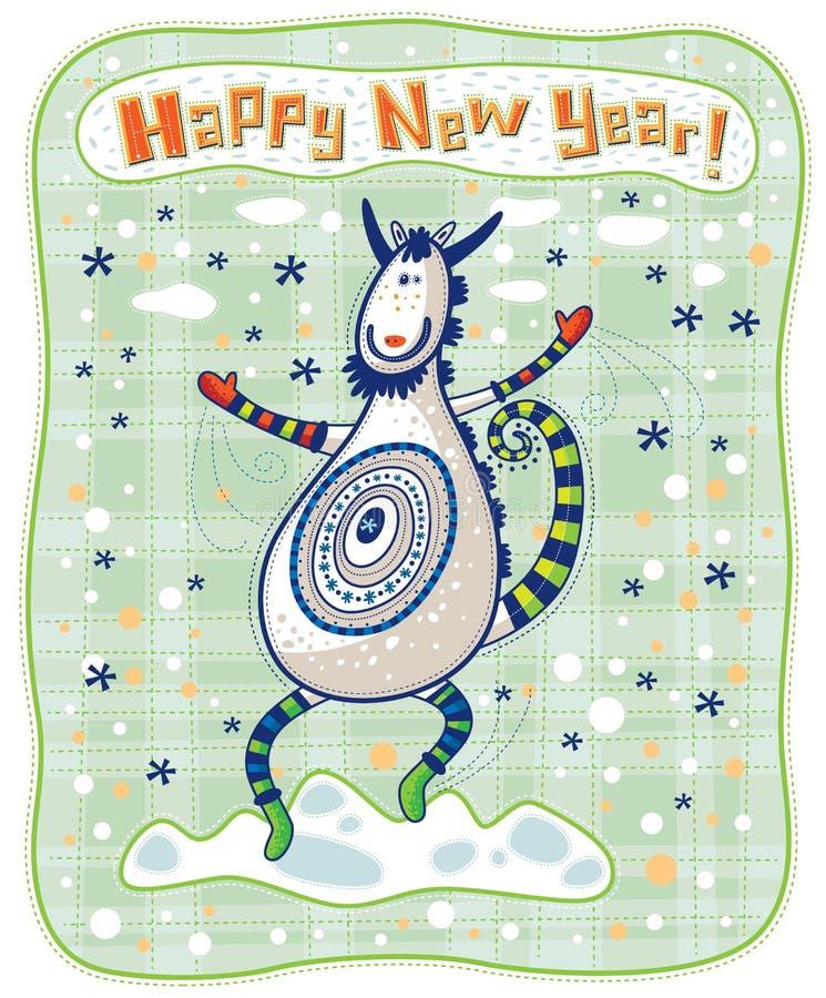 贺卡,滑稽的山羊,新年快乐! 皇族释放例证