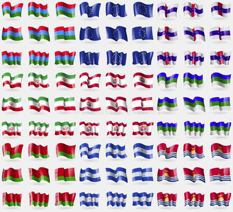 卡累利阿,欧盟,荷属安的列斯,伊朗,法属玻里尼西亚,郊见,白俄罗斯,洪都拉斯,基里巴斯 大套81面旗子 皇族释放例证