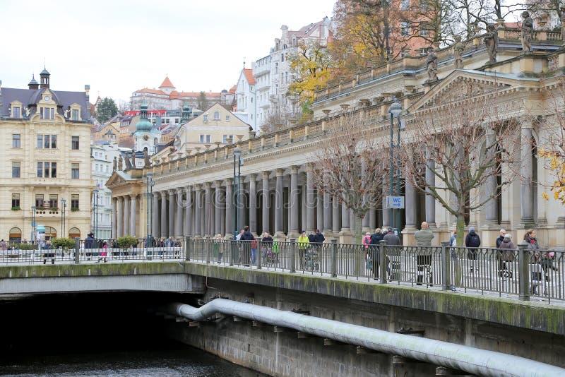 卡洛维变化(卡尔斯巴德)--著名温泉城市在西波希米亚,非常普遍的旅游目的地在捷克 免版税图库摄影