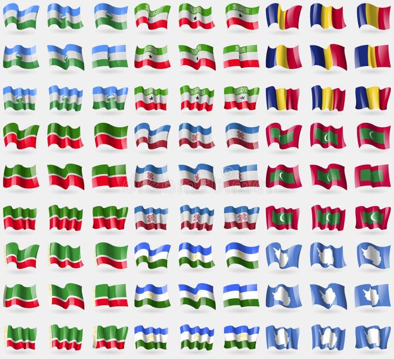 卡巴尔达-巴尔卡里亚,索马里兰,罗马尼亚,鞑靼斯坦共和国,马里埃尔共和国,马尔代夫,车臣共和国,巴什科尔托斯坦共和国,南极洲 大套81 f 库存例证