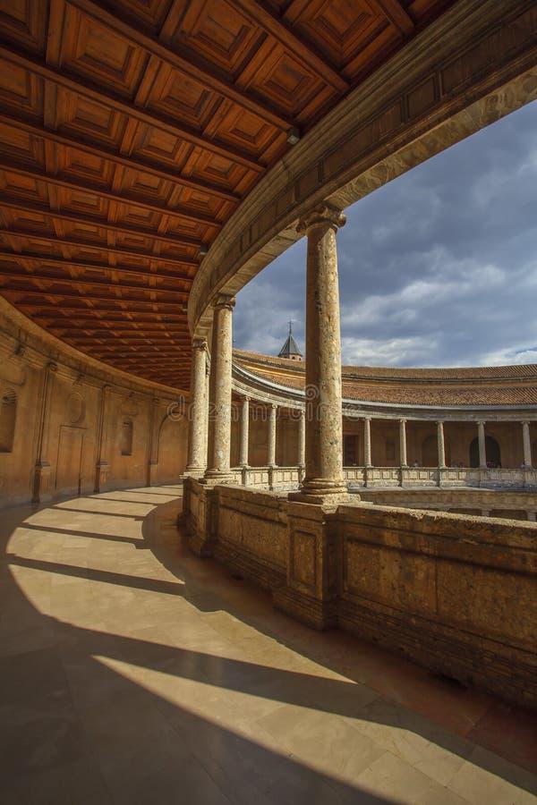 卡洛斯五世宫殿在格拉纳达,西班牙 免版税图库摄影
