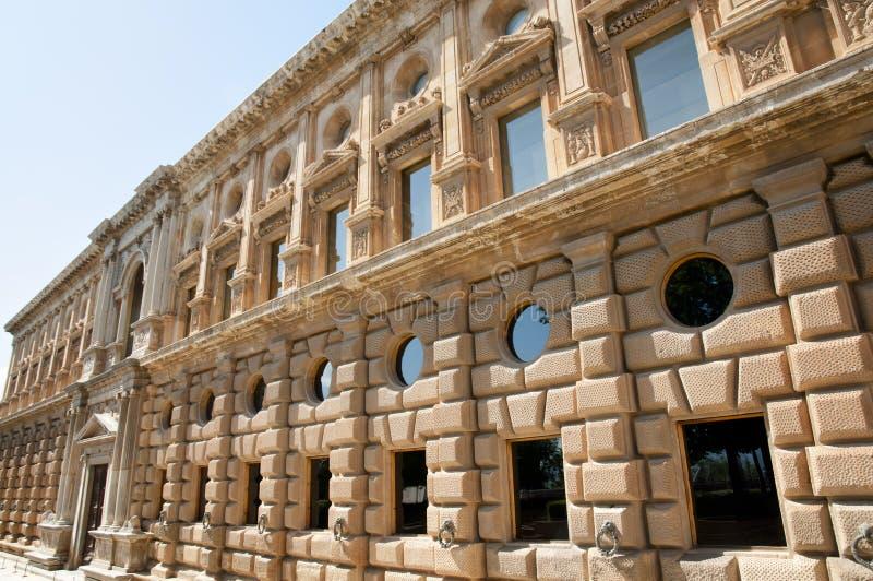 卡洛斯五世宫殿-格拉纳达-西班牙 免版税库存照片
