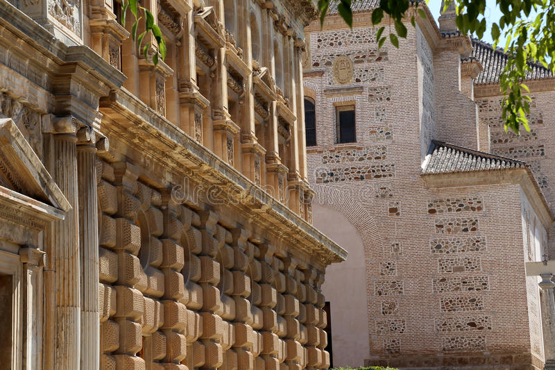 卡洛斯五世,阿尔罕布拉宫,格拉纳达,西班牙新生宫殿  库存图片