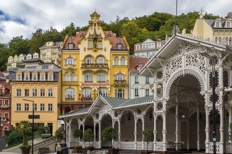 卡洛维的市中心变化,捷克 免版税库存照片