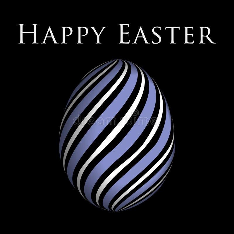 贺卡-紫色,白色复活节彩蛋和文本 库存例证