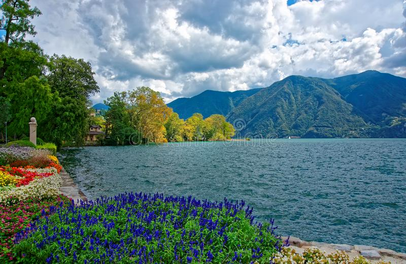 卢加诺散步的庭院公园在提契诺州瑞士 库存图片