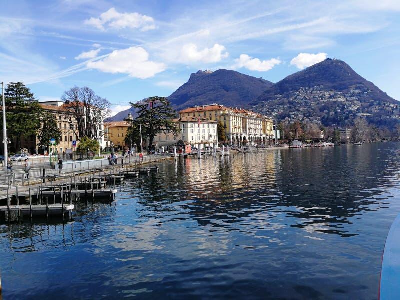 卢加诺湖巡航,瑞士 免版税库存图片