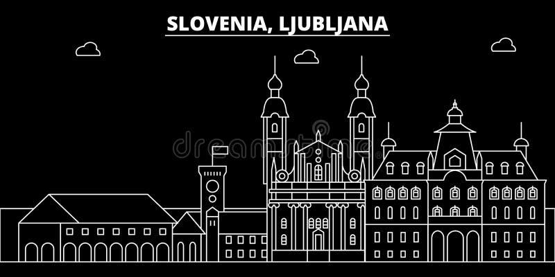 卢布尔雅那剪影地平线 斯洛文尼亚-卢布尔雅那传染媒介城市,斯洛文尼亚线性建筑学,大厦 卢布尔雅那 库存例证