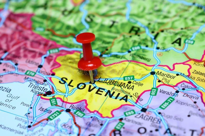 卢布尔雅那在欧洲地图别住了  图库摄影