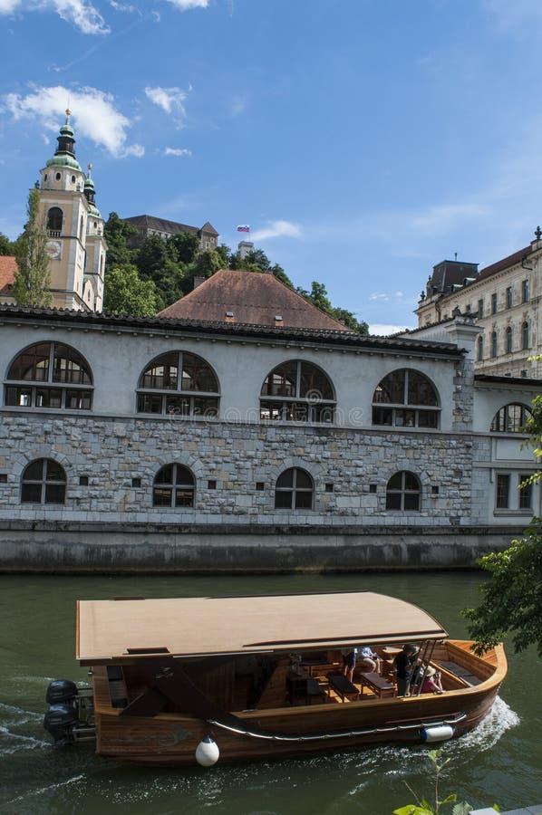 卢布尔雅那,斯洛文尼亚,欧洲,地平线,运河,河,巡航,游船, Ljubljanica 免版税库存图片