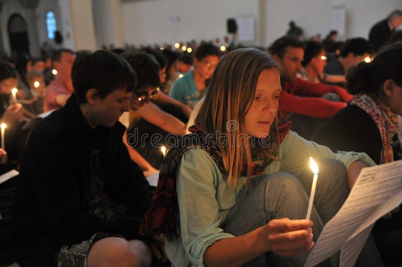 卢布尔雅那,斯洛文尼亚2012年4月:信任会议Taize朝圣青年人的 免版税库存图片