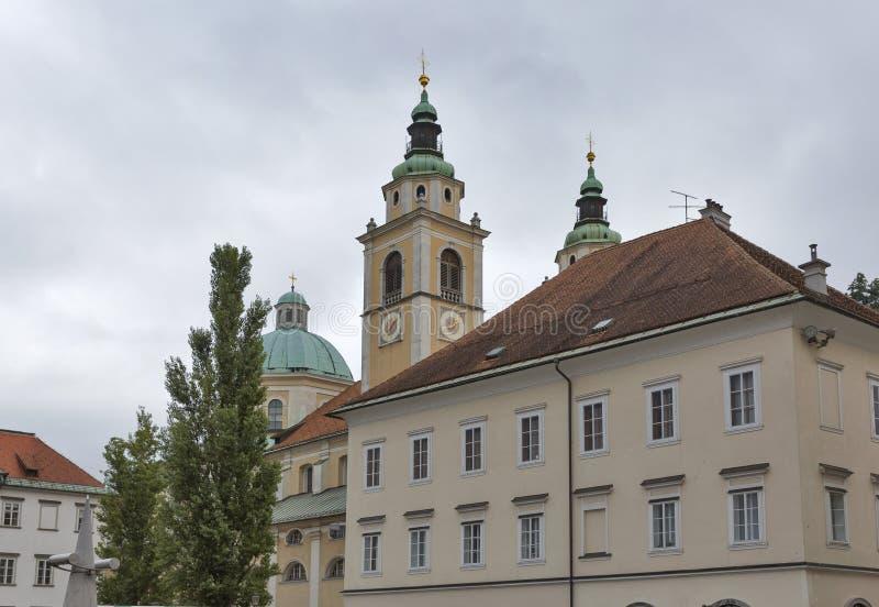 卢布尔雅那,斯洛文尼亚圣尼古拉大教堂  免版税库存图片