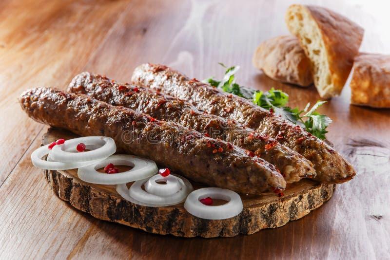卢拉kebab用草本 库存图片
