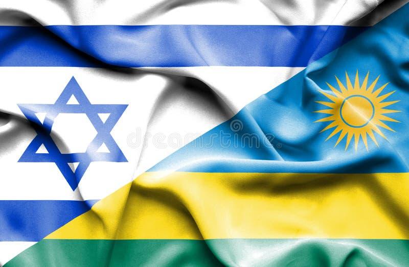 卢旺达和以色列的挥动的旗子 向量例证