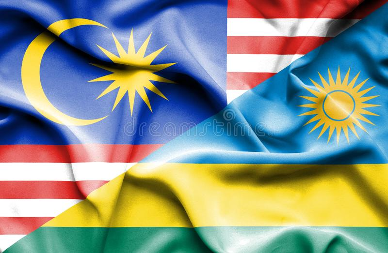 卢旺达和马来西亚的挥动的旗子 皇族释放例证