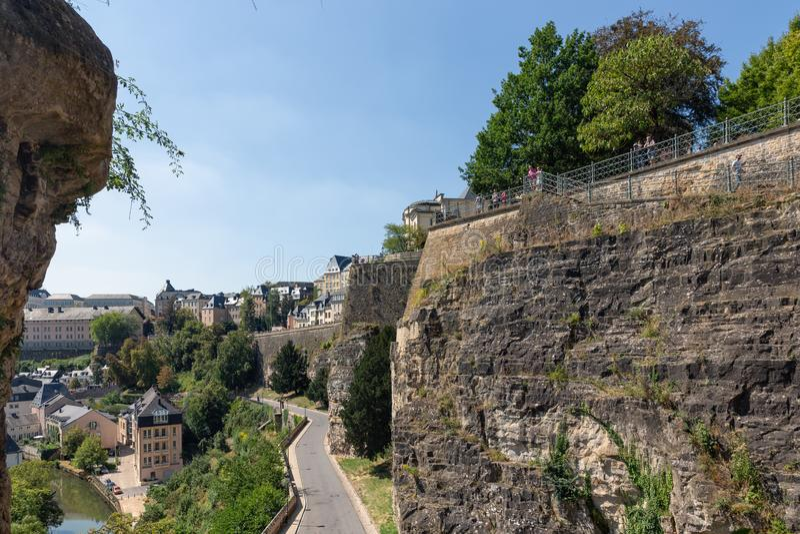 卢森堡、奥尔德敦的鸟瞰图和Grund 库存图片