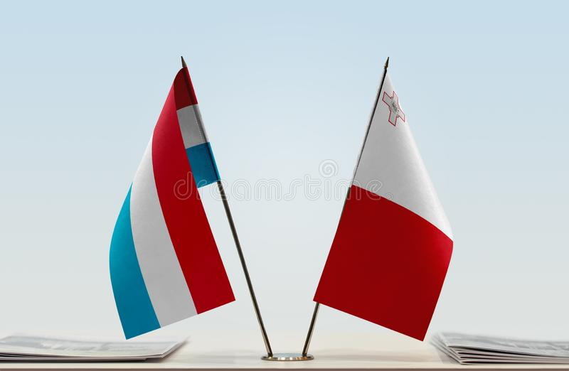 卢森堡和马耳他旗子  免版税库存照片