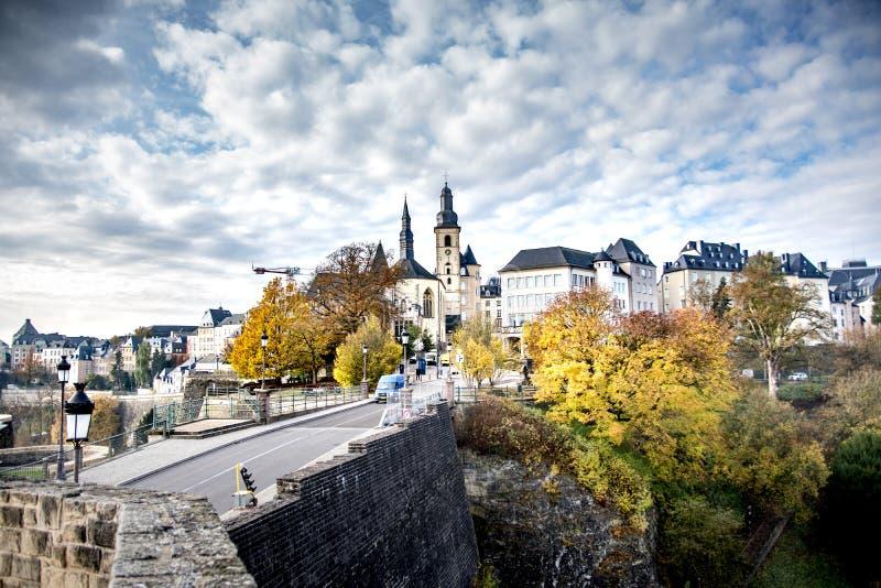 卢森堡城市,也很美丽在秋天! 免版税图库摄影