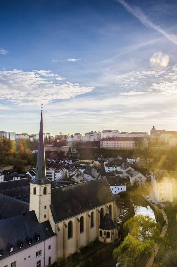 卢森堡市全景视图  免版税库存照片
