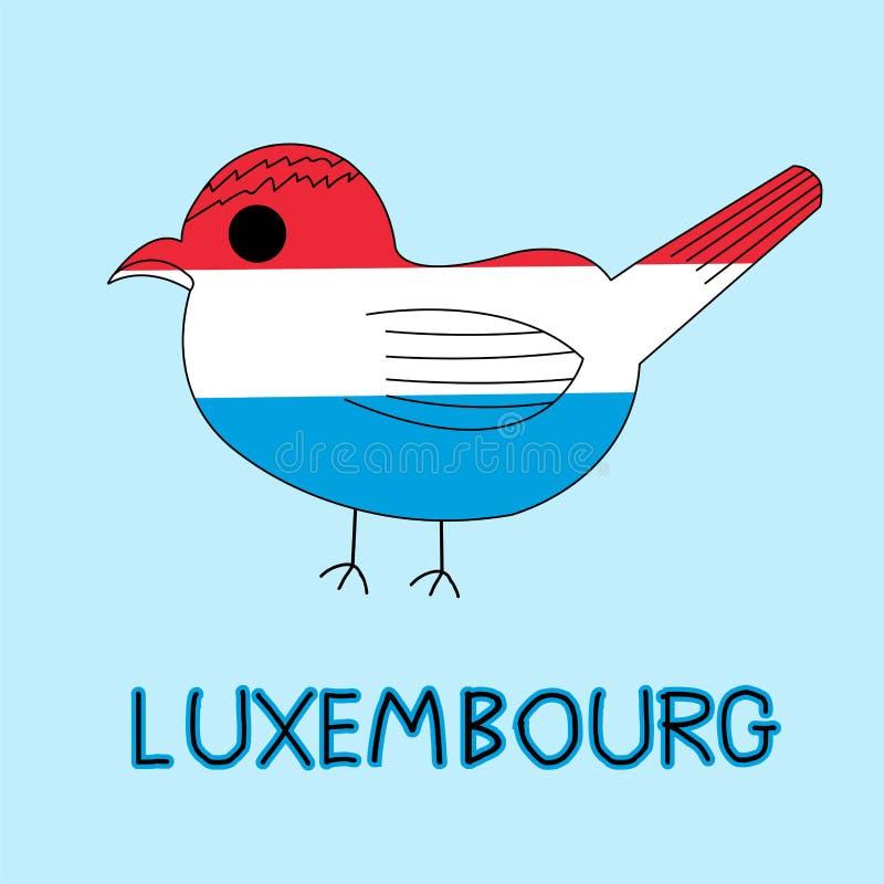 卢森堡旗子,全国动物的颜色模仿与Goldcrest的 皇族释放例证