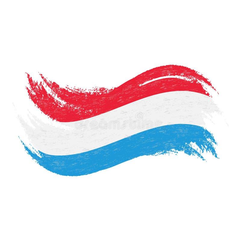 卢森堡的国旗,被设计使用刷子冲程,隔绝在白色背景 也corel凹道例证向量 向量例证