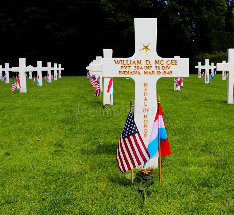 卢森堡美军公墓和纪念馆的荣誉勋章接收者 免版税库存图片