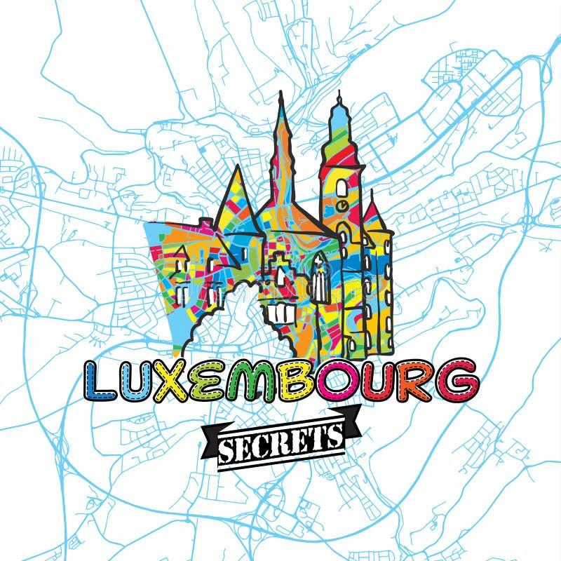 卢森堡移动秘密艺术地图 向量例证