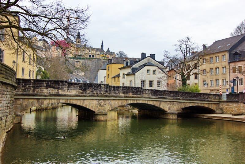 卢森堡-在阿尔泽特河河的桥梁 免版税库存照片