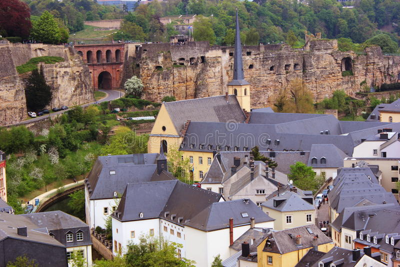 卢森堡- Grund视图 库存图片