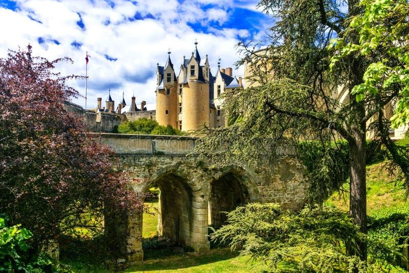 卢瓦尔谷-美丽的Montreuil-Bellay中世纪城堡  f 库存照片