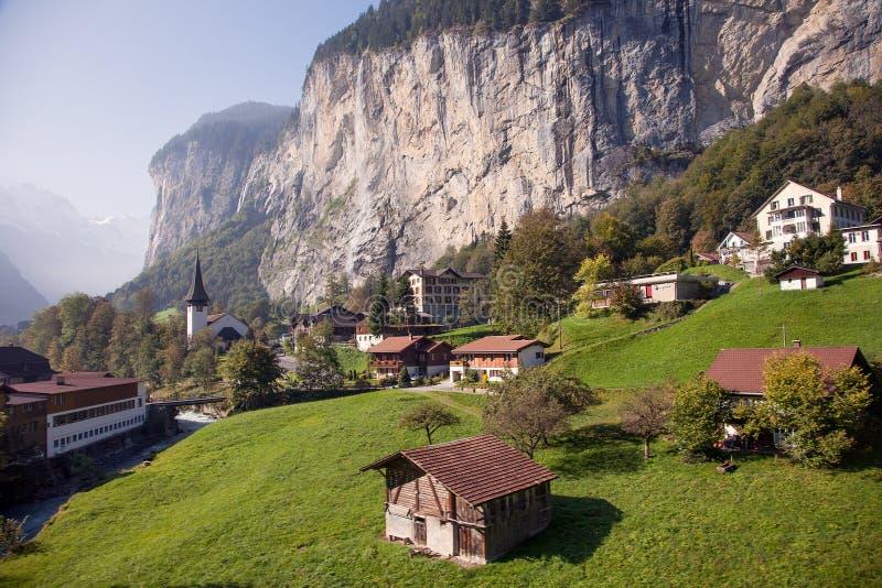 卢达本纳,在Bernese的Oberland烟特勒根附近,瑞士 免版税库存照片