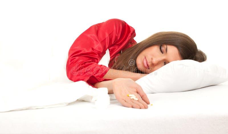 卧具系列白人妇女 图库摄影