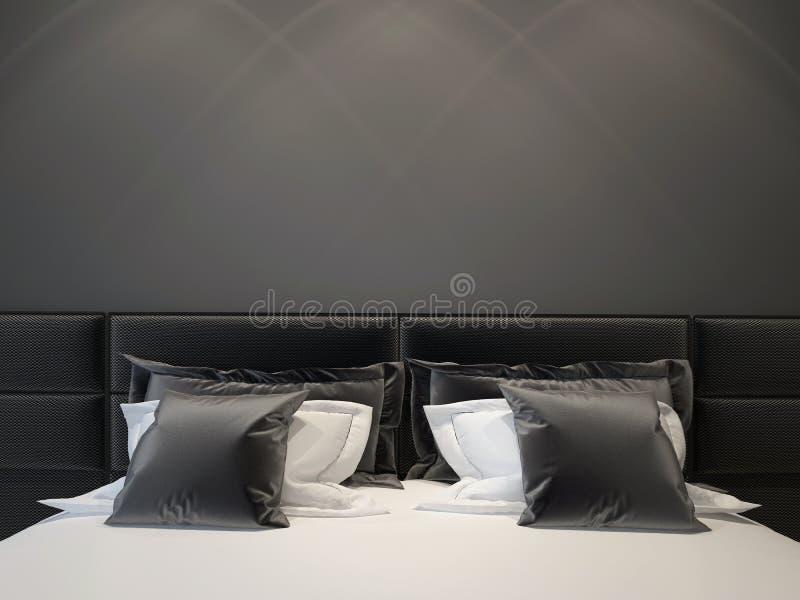 卧室双现代 免版税库存图片