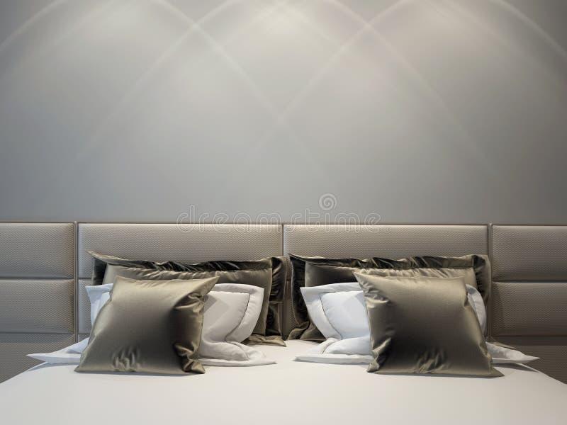 卧室双现代 免版税库存照片