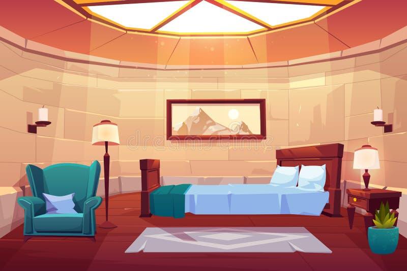 卧室在城堡或宫殿 空的晴朗的公寓 向量例证