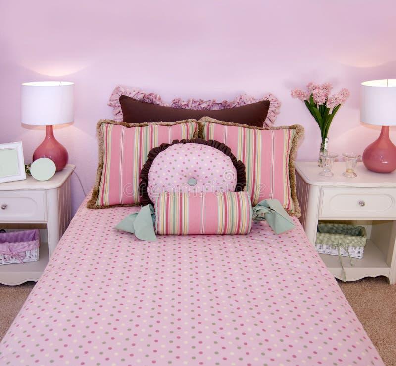 卧室女孩一点粉红色 免版税库存照片
