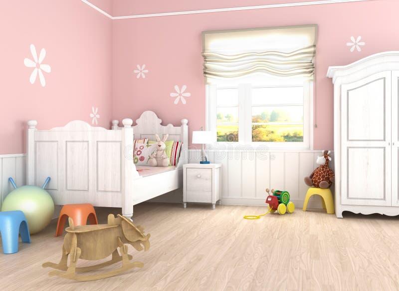 卧室女孩粉红色s 向量例证
