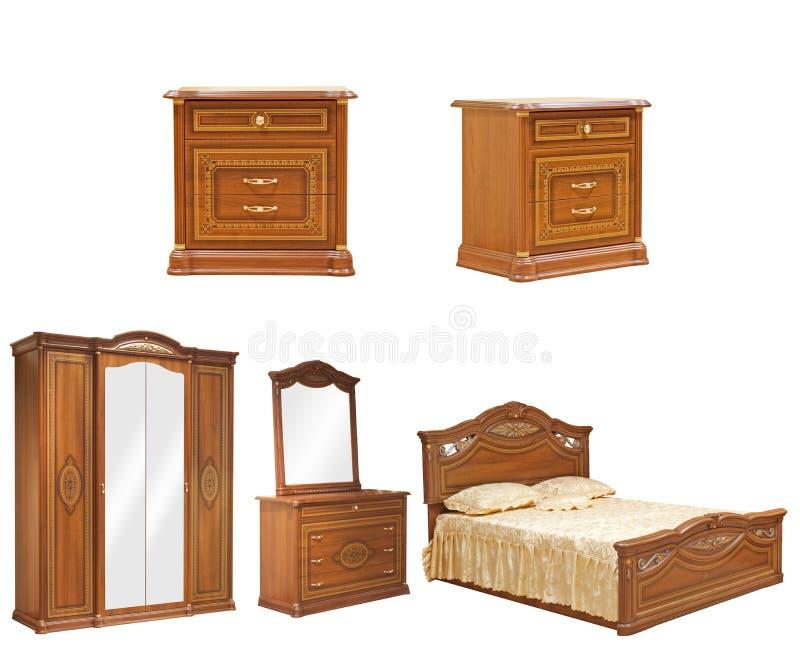 卧室家具查出的集 免版税库存照片