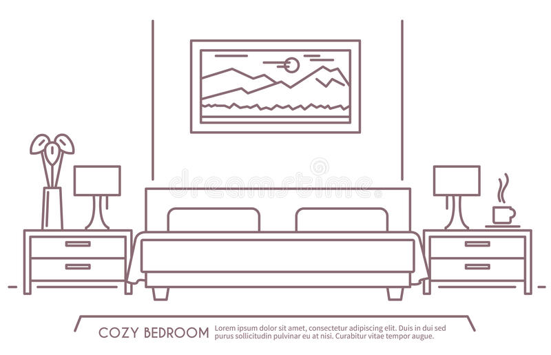 卧室家具概述 库存例证