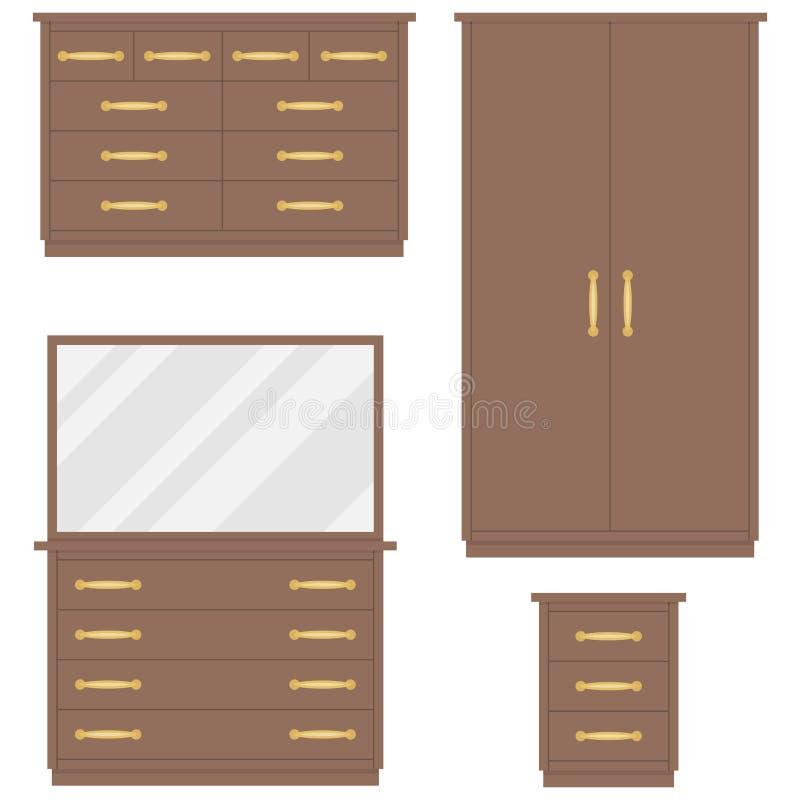 卧室家具 五斗橱,衣橱,梳妆台,床头柜 皇族释放例证