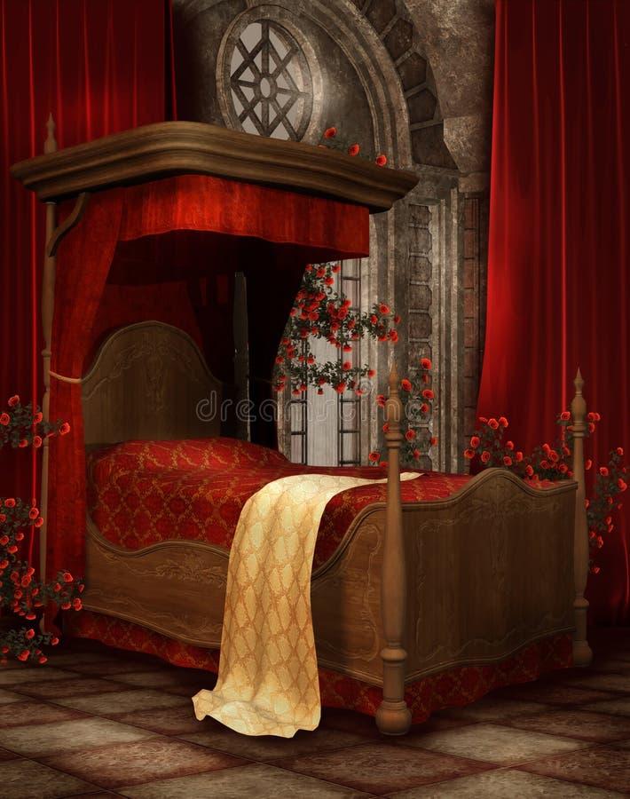 卧室玫瑰葡萄酒 皇族释放例证